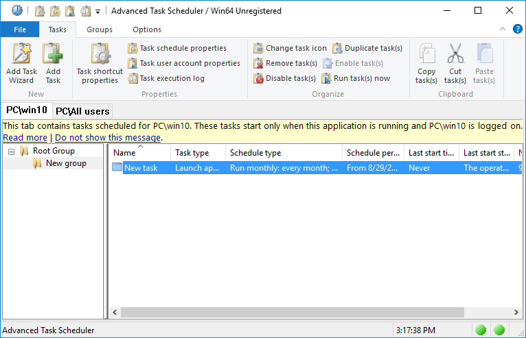 Click to view Advanced Task Scheduler 4.4.0.615 screenshot