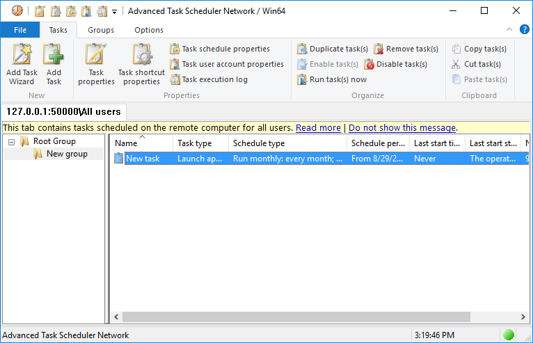 Advanced Task Scheduler Network / Win32 screenshot