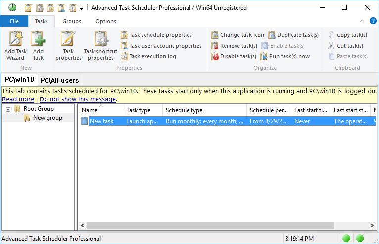 Advanced Task Scheduler Professional full screenshot
